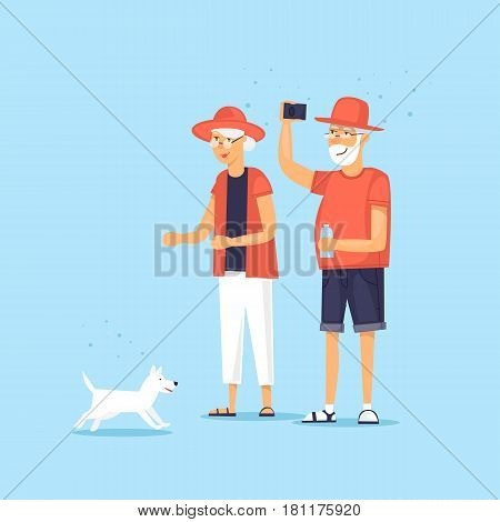 Mature couple walking a dog. Vector illustration flat style.