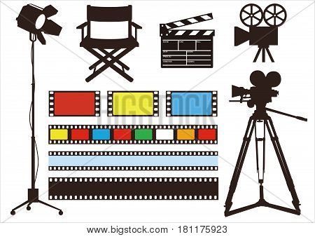 Movie & film icon / light, camera, director chair  set , vector