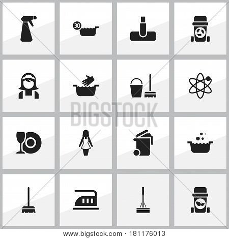 Set Of 16 Editable Cleanup Icons. Includes Symbols Such As Power, Container, Hoover And More. Can Be Used For Web, Mobile, UI And Infographic Design.