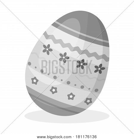 Dyed patterns egg for Easter. Easter single icon in monochrome style vector symbol stock web illustration.