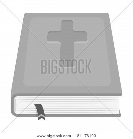Book with a cross on the cover. The Bible. Easter single icon in monochrome style vector symbol stock web illustration.