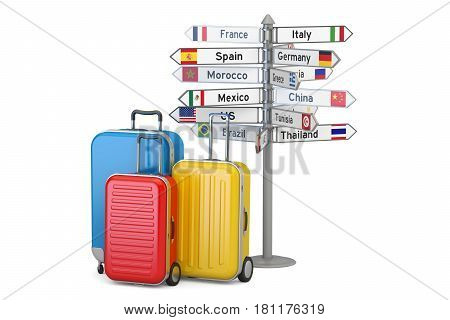 Travel concept. Suitcases and signpost 3D rendering