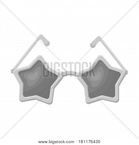 Glasses with stars.Fans single icon in monochrome  vector symbol stock illustration.