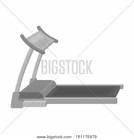 Treadmill. Running simulator for training in the gym.Gym And Workout single icon in monochrome style vector symbol stock web illustration.