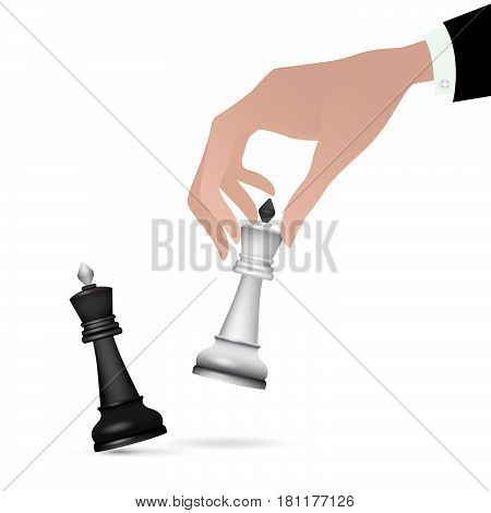 Strategist holding in hand chess figure black king. Concept.