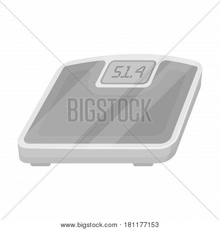 The scales in the gym for the weighing.Gym And Workout single icon in monochrome style vector symbol stock web illustration.