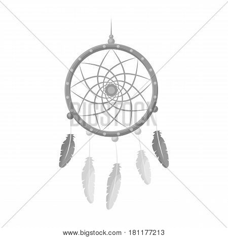 Dream catcher with feathers.Hippy single icon in monochrome style vector symbol stock illustration .