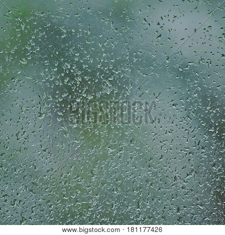 Rainy day raindrops on wet window glass vertical bright abstract rain water background pattern detail macro closeup detailed green blue dark vivid gray waterdrops gentle bokeh pluvial rainfall season concept