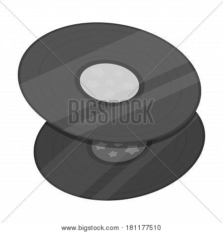 Vinyl records.Hippy single icon in monochrome style vector symbol stock illustration .