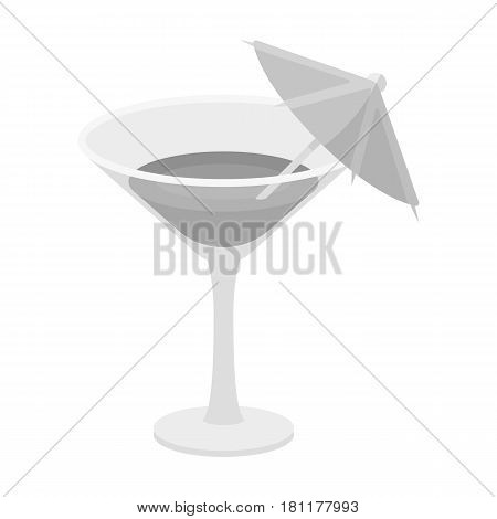 Glass with a cocktail.Party and parties single icon in monochrome style vector symbol stock web illustration.