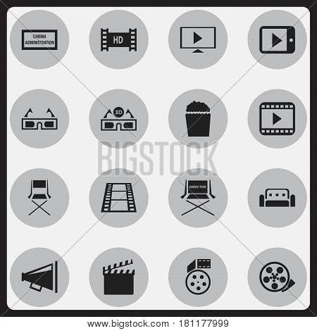 Set Of 16 Editable Filming Icons. Includes Symbols Such As Chair, Tape, Camera Strip And More. Can Be Used For Web, Mobile, UI And Infographic Design.