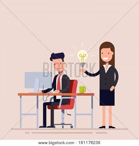Employee helps with the idea of a colleague being in despair. Help in a difficult situation. Workflow in the office. Businesswoman and businessman in business suits