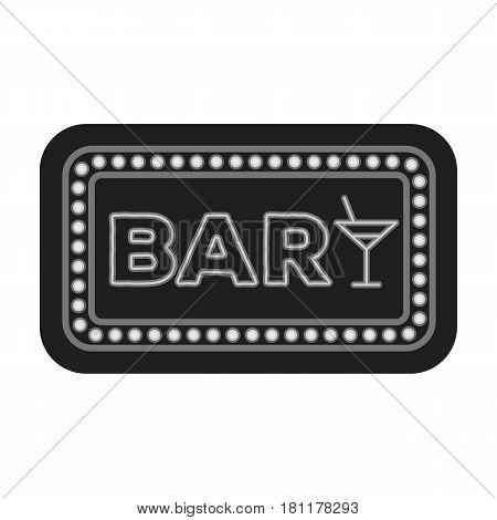 Advertising bar. The sign in front of the bar with pink lettering. Pub single icon in monochrome style vector symbol stock web illustration.