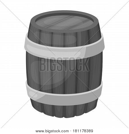 Oak barrel beer. A barrel in which beer is brewed. Pub single icon in monochrome style vector symbol stock web illustration.