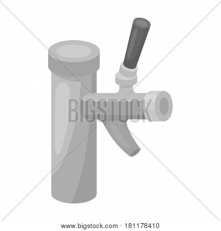 Metal faucet for dispensing cold kvass and beer in bars. Pub pattern icon in monochrome style vector symbol stock web illustration.