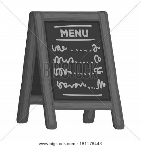Street bar menu.A sign with the tasty dishes in the street. Pub single icon in monochrome style vector symbol stock web illustration.