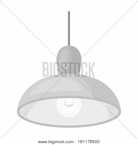 Chandelier with light bulb. The light in the bar. Pub single icon in monochrome style vector symbol stock web illustration.