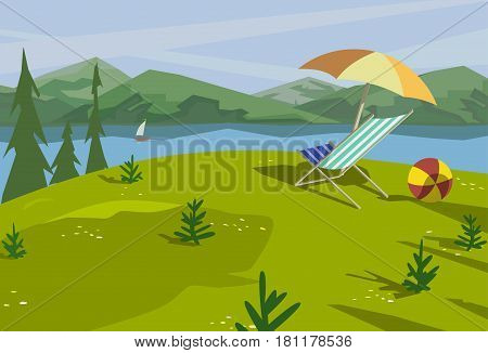 Summer nature landscape. Mountain river in valley. Lake view in green hills pine trees. Countryside scene background. Outdoors vector Illustration. Cartoon retro style poster. Season leisure banner