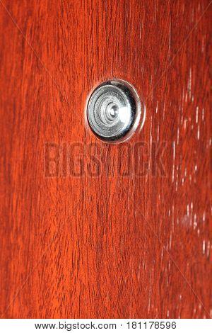 Peephole On Wooden Door