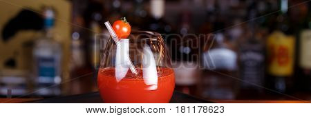 Bloody Mary Or Ceasar Cocktail At The Bar Counter. Classic Cocktail.