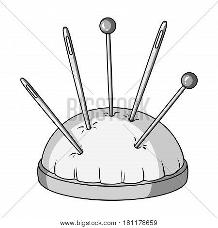 Pillow for needles.Sewing or tailoring tools kit single icon in monochrome style vector symbol stock web illustration.