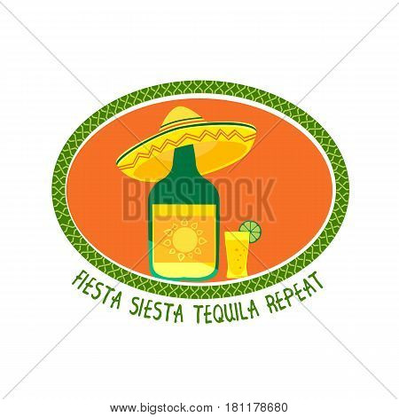 Mexican poster concept. Freehand drawn flat style. Fiesta Siesta in Spanish festival rest. Bottle of tequila in sombrero. Traditional symbol of Mexico. Vector sign element banner background