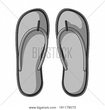 Beach flip flops.Summer rest single icon in monochrome style vector symbol stock web illustration.