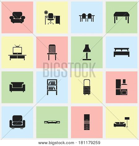 Set Of 16 Editable Home Icons. Includes Symbols Such As Material Cupboard, Bearings, Wall Mirror And More. Can Be Used For Web, Mobile, UI And Infographic Design.