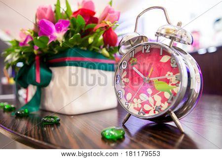 Decorative Pink Alarm Clock In The Interior