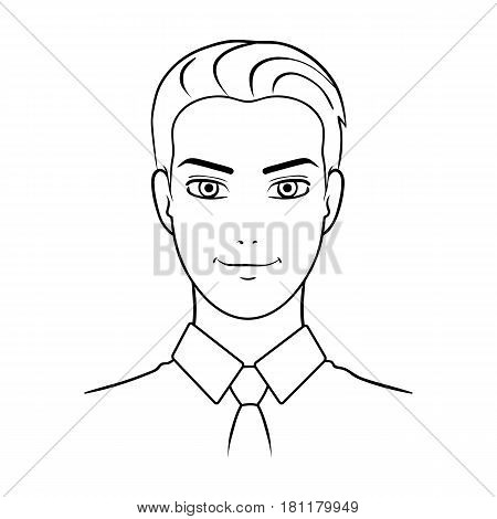 Avatar of a man in a shirt.Avatar and face single icon in outline style vector symbol stock web illustration.