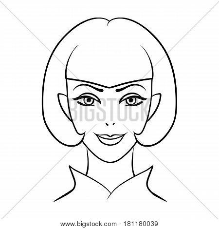 Avatar girl with short hair.Avatar and face single icon in outline style vector symbol stock web illustration.