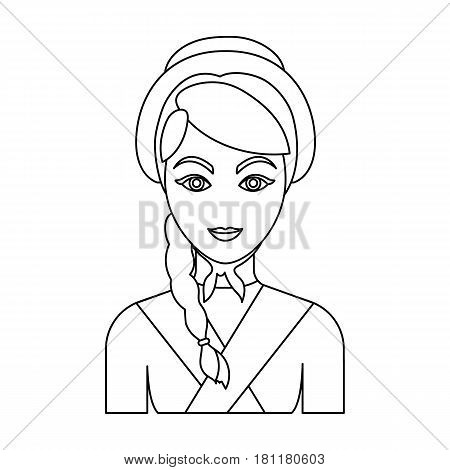 Girl with a braid and in a headdress.The dark Belgian wolf. Belgium single icon in outline style vector symbol stock web illustration.