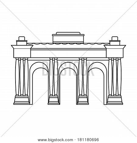 The Belgian arch monument.The dark Belgian wolf. Belgium single icon in outline style vector symbol stock web illustration.