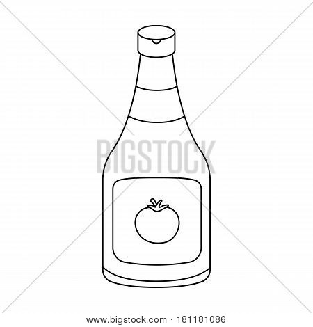 Bottle of ketchup.Burgers and ingredients single icon in outline style vector symbol stock web illustration.