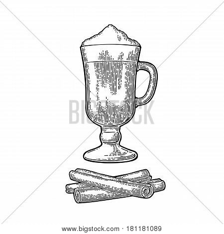 Glass of Latte macchiato coffee with whipped cream and cinnamon stick. Hand drawn sketch style. Vintage black vector engraving illustration for label web flayer. Isolated on white background