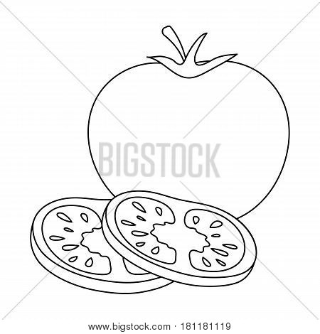 Tomato with a leaf.Burgers and ingredients single icon in outline style vector symbol stock web illustration.