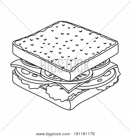 A sandwich with bread and sausage.Burgers and ingredients single icon in outline style vector symbol stock web illustration.
