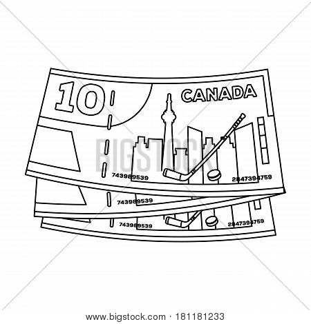 Canadian Dollar. Canada single icon in outline style vector symbol stock illustration .