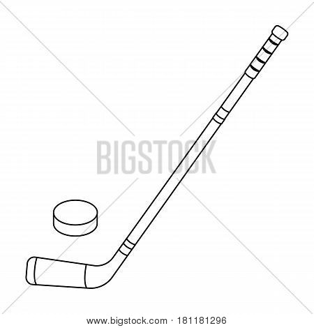 Hockey stick and washer. Canada single icon in outline style vector symbol stock illustration .