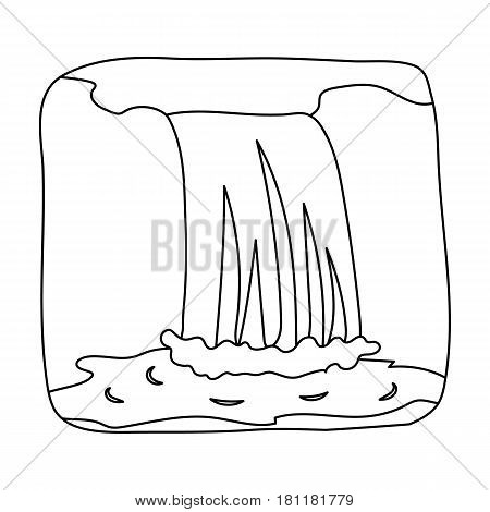 Canadian waterfall. Canada single icon in outline style vector symbol stock illustration .