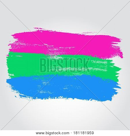 Polysexual Pride Flag In A Form Of Brush Stroke