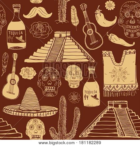 Mexico seamless pattern doodle elements Hand drawn sketch mexican traditional sombrero hat poncho cactus and tequila bottle map of mexico skull music instruments. vector illustration background