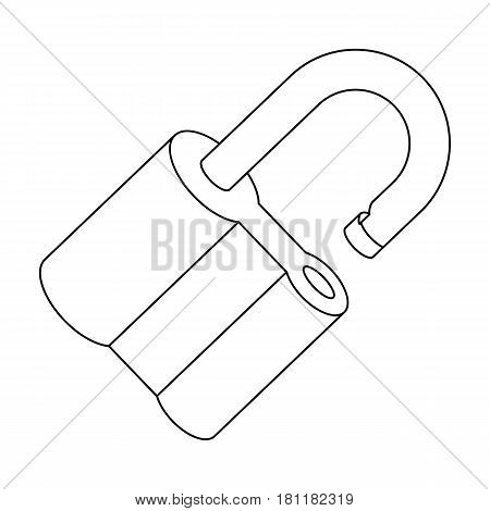 Padlock hacked. The challenge for the Pathfinder to solve the crime.Detective single icon in outline style vector symbol stock web illustration.