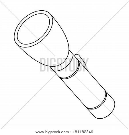 Flashlight, lighting facility for the detective. Outfit of a detective.Detective single icon in outline style vector symbol stock web illustration.