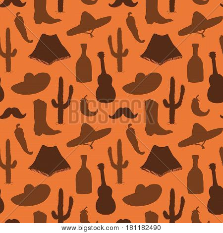 Mexico seamless pattern doodle elements Hand drawn sketch silhouette mexican traditional sombrero hat boot poncho cactus and tequila bottle chili peppers guitar. vector illustration background.