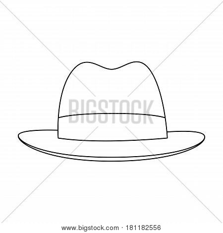 Brown hat with a brim. Headdress investigator for cover.Detective single icon in outline style vector symbol stock web illustration.