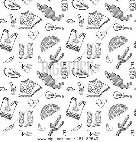 Mexico seamless pattern doodle elements Hand drawn sketch mexican traditional sombrero hat boots poncho cactus and tequila bottle map of mexico music instruments. vector illustration background.