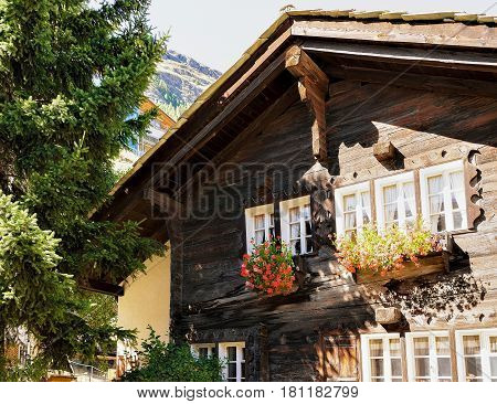 Traditional Swiss chalet with flowers on balconies at Zermatt resort town of Switzerland in summer