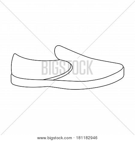 Blue men summer espadrilles . Summer comfortable shoes on the bare feet for everyday wear.Different shoes single icon in outline style vector symbol stock web illustration.