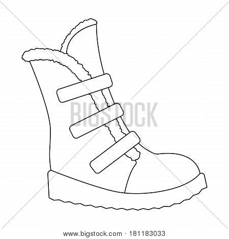 Tall winter boots made of wool with Velcro. Shoes for explorers.Different shoes single icon in outline style vector symbol stock web illustration.